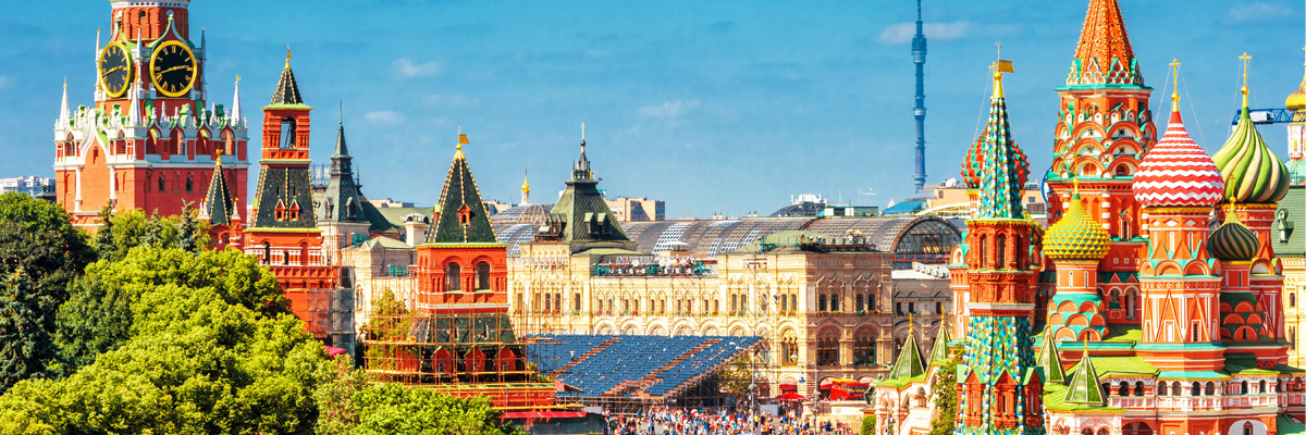 Red Square with Moscow Kremlin and St Basil's Cathedral in summer, Moscow, Russia.